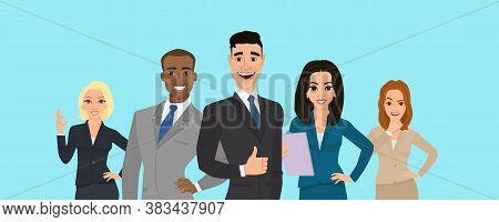 Business Team. A Group Of People Dressed In Strict Suit. Vector Illustration In A Flat Style. Busine