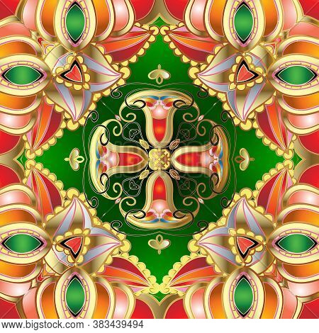 Ethnic Style Colorful Paisley Seamless Pattern. Beautiful Ornamental Bright Floral Background. Patte