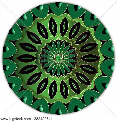 Jewelry Round Floral Mandala Pattern. Greek Style Luxury Green 3d Ornament With Emerald Gem Stone. B