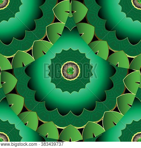 Jewelry Floral Mandalas Seamless Pattern. Greek Style Tiled Green 3d Deco Ornaments With Emerald Gem