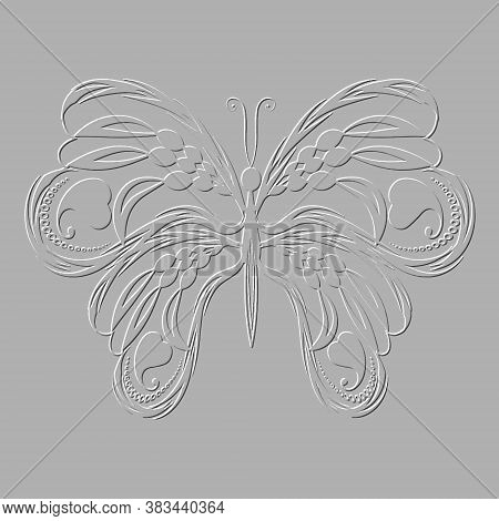 Embossed Butterfly. Vector Textured Background. 3d Pattern. Grunge Texture With Embossing Effect. Be