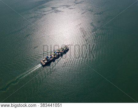 George Town, Penang/malaysia - Oct 23 2019: Aerial View Container Ship Move At Penang Sea.