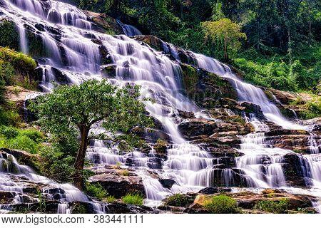 Mae Ya Waterfall It Beautiful Most Famous In Doi Inthanon National Park, Chiang Mai, Thailand.