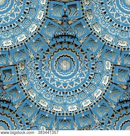 3d Round Mandalas Seamless Pattern. Textured Half Tone Background. Vector Dotted Repeated Grunge Bac