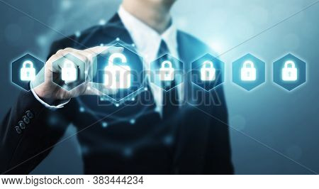 Protection Network Security Computer And Safe Your Data Concept, Businessman Holding Shield Protect