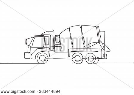 One Single Line Drawing Of Truck Mixer For Mobile Mixing Cement Vector Illustration, Commercial Vehi
