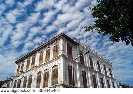 Georgetown, Penang/malaysia - Feb 14 2020: Heritage Building Ren I Tang Heritage In Under Blue Sky.