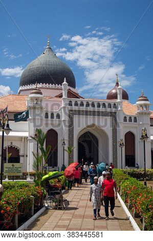 Georgetown, Penang/malaysia - Feb 14 2020: Muslim Come Out From Kapitan Keling Mosque After Friday P