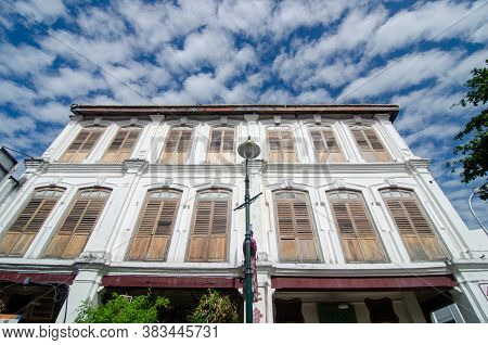 Georgetown, Penang/malaysia - Feb 14 2020: Architecture Old Heritage House Georgetown.