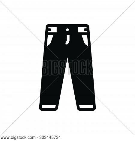 Black Solid Icon For Pant Jeans Fashion Men-pant Clothing Trouser Garment Dress Costume