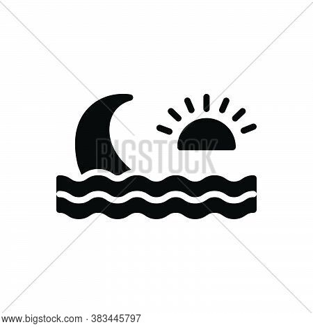 Black Solid Icon For Wave Ripple Backwash Surf Stream Water-wave Flowing Nature Sea Sun