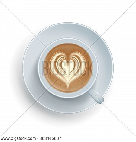 Ralistic Offee Cup With Heart Shape Made Of Froth. Top View Of Hot Cappuccino, Latte Beverage With F