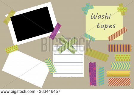 Note Paper. Note Board. Sheets Tacked To The Board. Torn Potholders. Sticky Pages. Vector Illustrati
