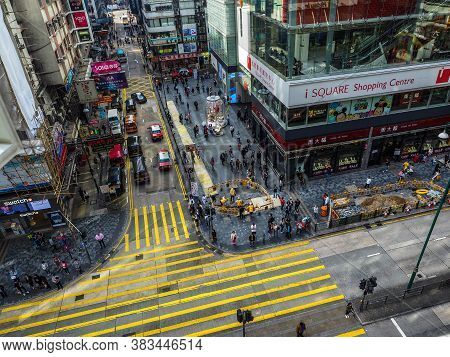 Hong Kong , China - 7 Dec 2016: Street Crossing At Morning On December 7, 2016 In Hong Kong, China.