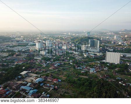 Bukit Mertajam, Penang/malaysia - Feb 27 2020: Aerial View Bm Plaza And Rural Area Of Vegetable Plan