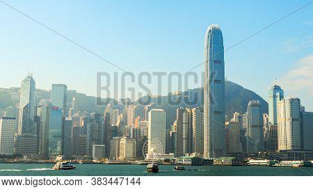Hong Kong, Hong Kong - December 10: Sea Front View With Luxurious Buildings In Hong Kong On  Decembe