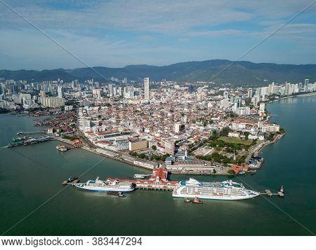 Georgetown, Penang/malaysia - Feb 28 2020: Aerial View Port Swettenham At Georgetown City.