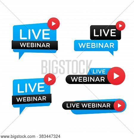 Vector Illustration Of A Live Webinar Label. Suitable For Design Elements From Webinar Streaming, On