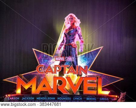 Bangkok, Thailand - March 4, 2019:: View Of Standee Captain Marve Or Carol Danvers Stars By Brie Lar