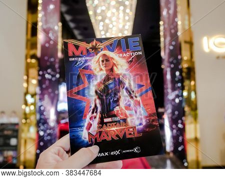 Bangkok, Thailand - March 4, 2019: Movie Poster Of Captain Marvel Showing At Cinema, A Marvel Superh
