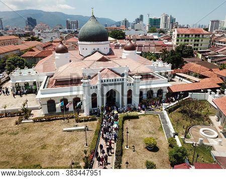 Georgetown, Penang/malaysia - Feb 28 2020: Muslim Leave Masjid Kapitan Keling After Friday Pray.