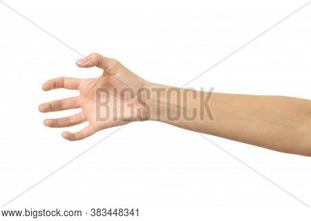 Pulling, Grabbing, Reaching Or Scratching. Woman Hand Gesturing Isolated On White