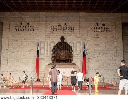 Taipei, Taiwan - May 13, 2019 : The Bronze Statue Of Chiang Kai-shek In The Main Chamber Of The Chia