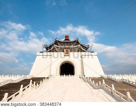 Taipei, Taiwan - May 13, 2019: A Famous Monument, Landmark And Tourist Attraction Erected In Memory