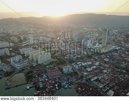 Georgetown, Penang/malaysia - Feb 28 2020: Aerial View Sunset Georgetown.