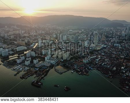 Georgetown, Penang/malaysia - Feb 28 2020: Late Evening Georgetown Heritage Site.