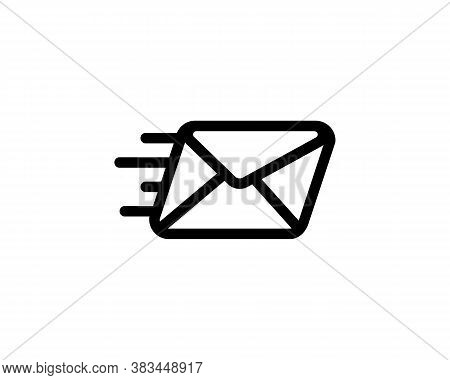 Send Message Icon. Sending A Envelope. Speed Mail. Fast Email Delivery Symbol. Vector On Isolated Wh