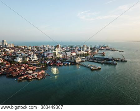 Georgetown, Penang/malaysia - Feb 29 2020: Morning View Of Clan Jetty And Ferry Terminal.