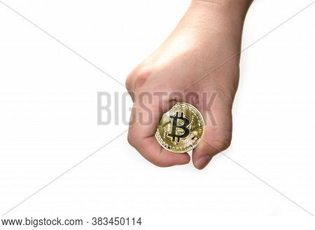 Hand Held Bitcoin Isolated On White Background