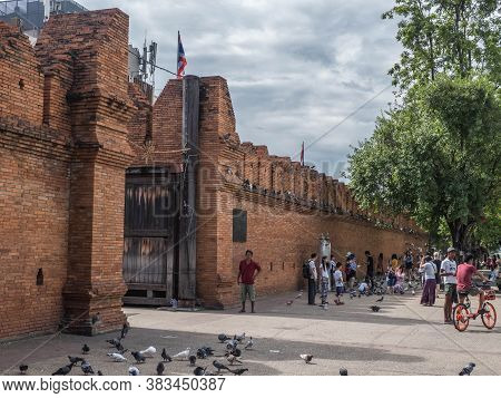 Chiangmai - Thailand, July 6 2018: Thapae Gate In The Main Entrance To Old City Chiangmai, This Plac