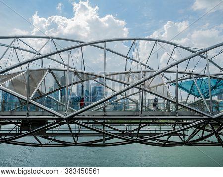 Marina Bay - Singapore, 24 Nov 2018: The Helix Bridge Is A Pedestrian Bridge Linking Marina Centre W