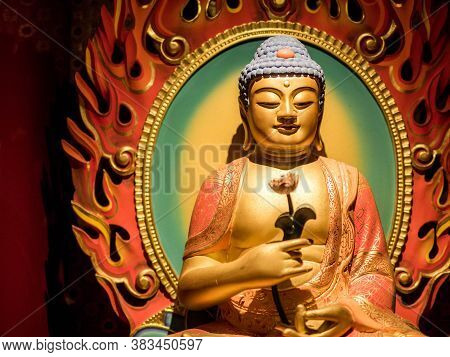 Chinatown, Singapore - Nov 24, 2018: Statue Of Buddha Sitting In Meditation And Waiting For Nirvana
