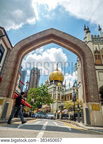 Haji Lane, Singapore Nov 26, 2018; Main View Of Masjid Sultan At Muscat Street In The Kampong Glam.