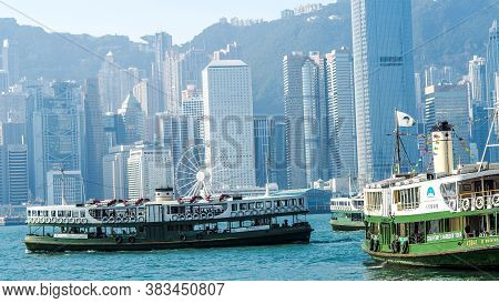 Hong Kong, Hong Kong - December 10: Sea Front View With Luxurious Buildings In Hong Kong On  Decembe