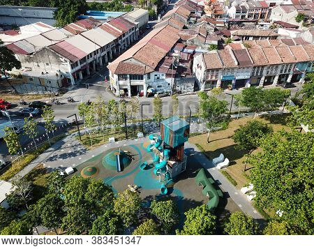 Georgetown, Penang/malaysia - Feb 29 2020: Green Park And Playground At Sia Boey Urban Archaeologica