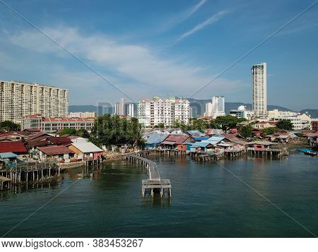 Georgetown, Penang/malaysia - Mar 17 2020: Drone View Clan Jetty In Morning.