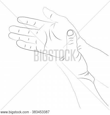 Pain In The Wrist, Man Holding Her Wrist Pain Because Ligament In The Wrist Area, Vector Illustratio