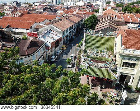 Georgetown, Penang/malaysia - Mar 17 2020: Aerial Look Down Yap Kongsi Temple With Street.