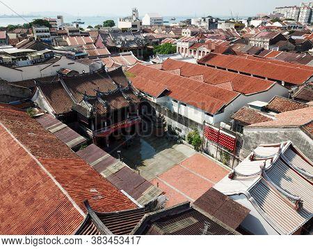 Georgetown, Penang/malaysia - Mar 17 2020: Aerial View Architecture Poh Hock Seah Twa Peh Kong Templ