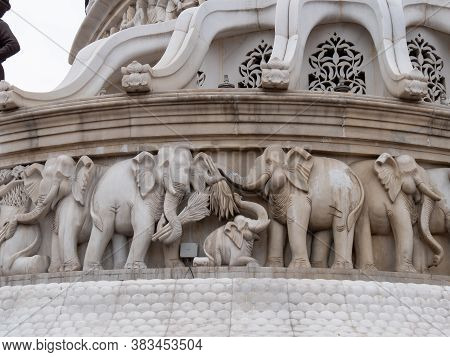 Amritsar, India - March 18, 2019: Close Up Of Elephants On Statue Of Maharaja Ranjit Singh In Amrits