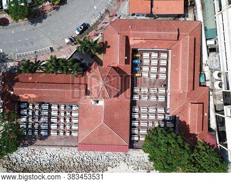 Georgetown, Penang/malaysia - Mar 17 2020: Aerial Padang Kota Lama Food Court In Morning.