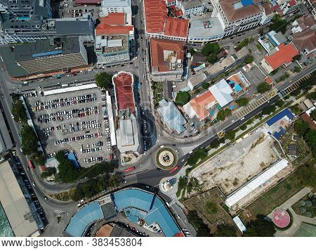 Georgetown, Penang/malaysia - Mar 17 2020: Aerial View Roundabout At Jubilee Clock Tower.