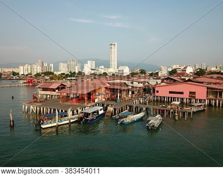 Georgetown, Penang/malaysia - Mar 21 2020: Unesco World Heritage Georgetown. Aerial Chew Jetty.