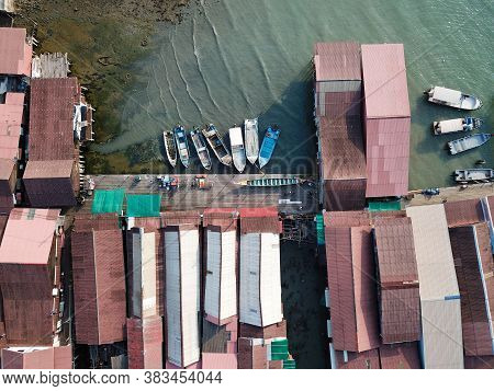 Georgetown, Penang/malaysia - Mar 21 2020: Aerial Fishing Boat Park At Chew Jetty.