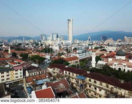 Georgetown, Penang/malaysia - Mar 21 2020: Aerial View Georgetown Kotmar Building And Old House.