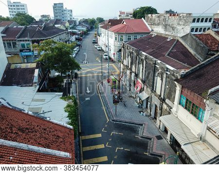 Georgetown, Penang/malaysia - Mar 21 2020: Aerial View Less People At Armenian Street Due To Malaysi